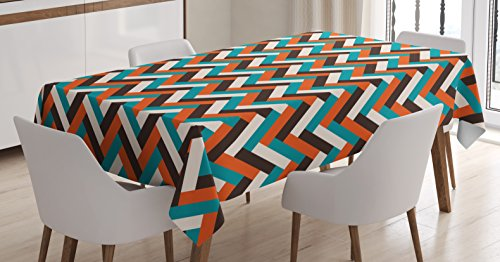 - Ambesonne Mid Century Tablecloth, Herringbone Pattern in Retro Colors Simple Funky Design of Classic Mosaic Tile, Dining Room Kitchen Rectangular Table Cover, 60 W X 90 L Inches, Cinnamon Blue