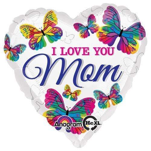 Anagram 30236 Love You Mom Butterflies Foil Balloon, 18