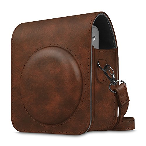 (Fintie Protective Case Compatible with Fujifilm Instax Mini 90 Neo Classic Instant Film Camera - Premium Vegan Leather Bag Cover with Removable Strap, Vintage Brown)