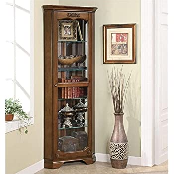 Amazon.com: Southern Enterprises Lighted Corner Curio Cabinet ...