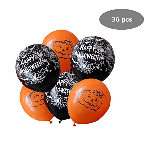 36 Pieces Halloween Orange Black Balloons for Halloween Punching Balloon Party Favor Supplies Decorations, Trick or Treat Toys, School Classroom Game, Kids Giveaway ()