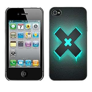 Caucho caso de Shell duro de la cubierta de accesorios de protección BY RAYDREAMMM - Apple iPhone 4 / 4S - Blue X