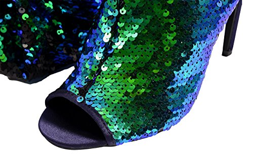 CAMSSOO Thigh Sparkle Blue Pupms Toe Knee Heel Christmas Over Women's Dance Boots Party High Peep Fashion Sequins UrSACnWSqw