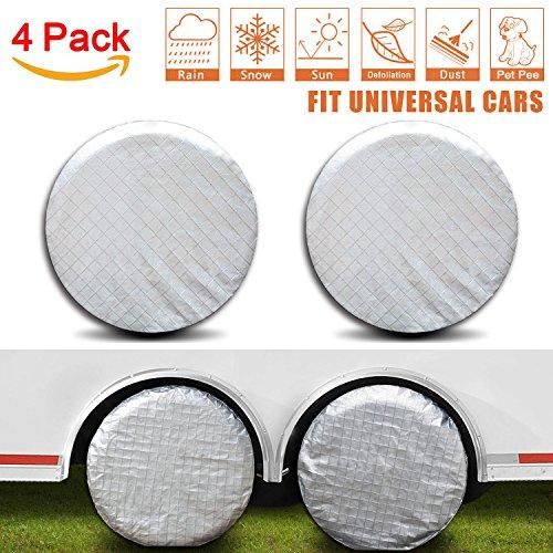 Amfor Set of 4 Tire Covers,Waterproof Aluminum Film Tire Sun Protectors,Fits 27