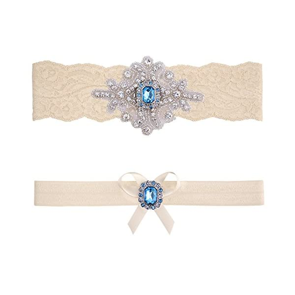 e5134bca7d1 Contessa Garters Wedding Garter Belt Blue Ivory White Lace Bridal ...