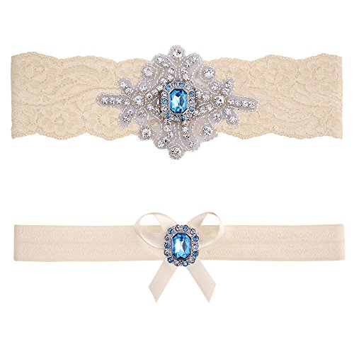 Blue Topaz Wedding Bridal Garter Set (Large (20