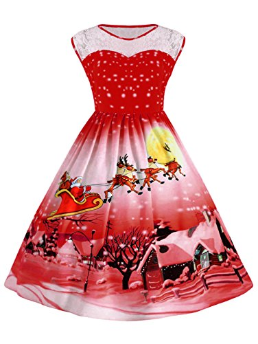 Women's Plus Size Sleeveless Snowflake Santa Christmas Fit and Flared A-line Red Dress with Lace ()