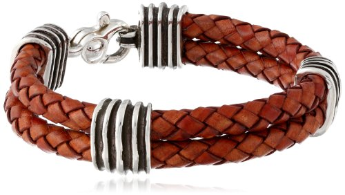 Zina Sterling Silver Men's Waves Double Brown Leather Bracelet, 8.5""