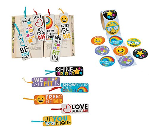 148 PCE. BE You - Be Unique - Classroom Student Prizes/Favors - 48 Bookmarks & 100 Jumbo Stickers/Diversity/Acceptance/Empowerment/Party Favors