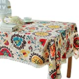 Toechmo Vintage Square Cotton Linen Lace Sun Flower Tablecloth, Washable Tablecloth Dinner Picnic Table Cloth Home Decoration Assorted Size