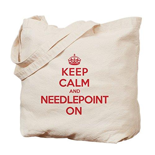 (CafePress Keep Calm Needlepoint Natural Canvas Tote Bag, Cloth Shopping Bag)