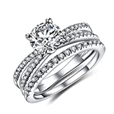 Vibrille Women's Sterling Silver Created Diamond Engagement Wedding Ring Bridal Sets Size 6