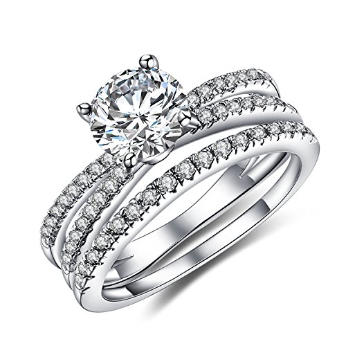 Vibrille Women's Sterling Silver Created Diamond Engagement Wedding Ring Bridal Sets Size 9