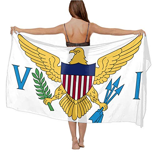 Womens Girls Flag Of The United States Virgin Islands White Shawls Stole Summer Long Swimsuit, Light Cover Up Stylish Sexy Bathing Suit for Beach, Wedding, Travel