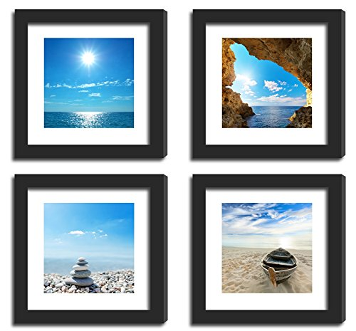 (XUFLY 4X Real Glass Wood Frame Black Fit 11x11, 2 Mat Matted Fit Pictures Photo 8x8 4x4 Desktop Stand or Wall Hang Family Black White Red Landscape Combine Square Home Office Decoration (17-20))