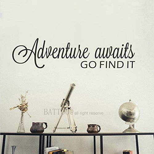 BATTOO Adventure Awaits Wall Decal Stickers Adventure Quotes Travel Theme Wall Decor 30