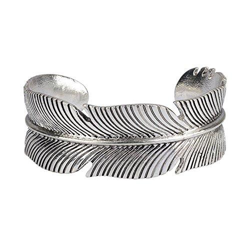 UHANGETH Retro Indian Style Bracelet Opening Adjustable Cuff Bracelet (Feather)