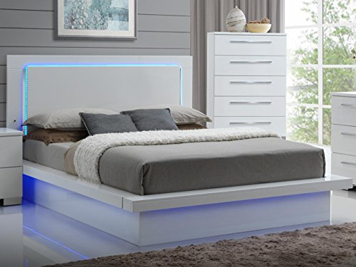 NCF Furniture Saturn Eastern King LED Light Bed in White Lacquer High Gloss Finish