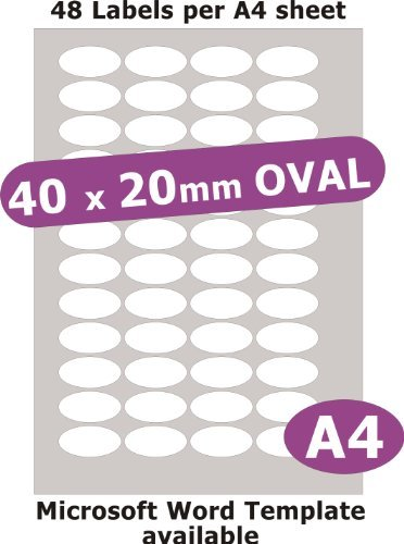Minilabel 40X20mm Oval , 240 Labels , Gloss Paper Laser , 5 A4 Sheets , Laser Printer Stickers ()