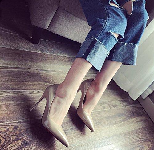 Ajunr alla luce multa seguita e selvatica tacco Comfort 35 moda porta Elegante 10cm beige Court a 38 scarpe Party Punta moderno alto 55xYqwrng