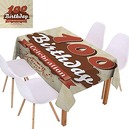 UHOO2018 100th Birthday,Easy Care Tablecloth,Chocolate Wrap Like Brown Party Invitation Hundred Years Celebration,Great for Holiday Dinner, Wedding & More,Cinnamon and Cream,60