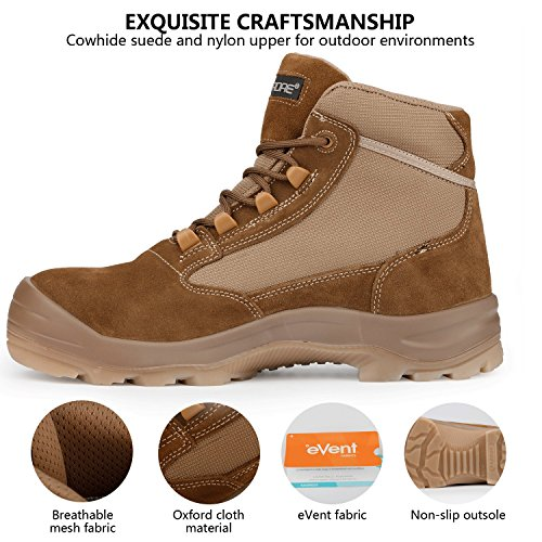 Men's Cowhide Suede Waterproof Outdoor Work Duty Boots Safety Toe Puncture Resistance Outsole Size 10 by ORADAE (Image #2)