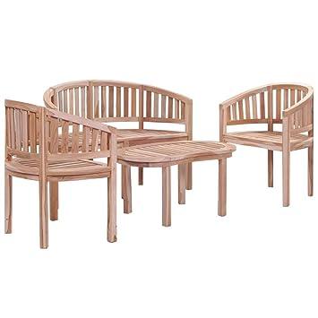 Festnight- Ensemble de mobilier de Jardin 4 pcs en Bois Massif Salon de  Jardin pour Patio Table et Chaise de Jardin