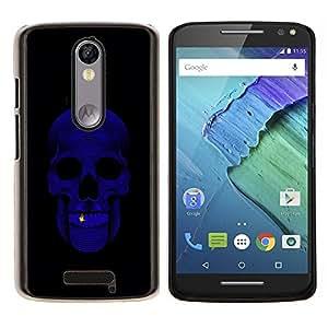 TECHCASE---Cubierta de la caja de protección para la piel dura ** Motorola Moto X ( 3rd Generation ) ** --Cráneo Bling Purple Negro minimalista
