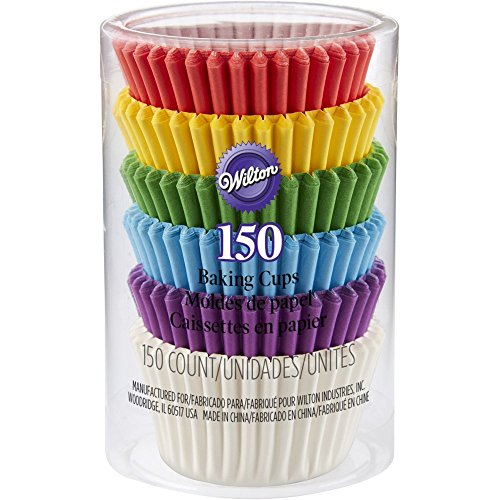 Wilton 415-5171 150 Count Rainbow Mini Cupcake Liners (3 Pack)