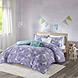 Urban Habitat Kids Lola Full/Queen Comforter Sets for Girls - Purple, Aqua, Unicorns – 5 Pieces Kids Girl Bedding Set – 100% Cotton Childrens Bedroom Bed Comforters