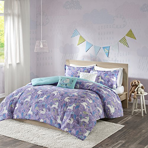 Urban Habitat Kids Lola Full/Queen Comforter Sets for Girls - Purple, Aqua, Unicorns – 5 Pieces Kids Girl Bedding Set – 100% Cotton Childrens Bedroom Bed Comforters by Urban Habitat Kids