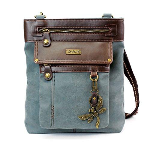 60eddbb880 Chala GEMINI Crossbody PU Leather Messenger Bag Indigo - Indigo Dragonfly