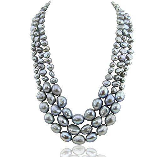 17.5-20 Inch 7-13 mm 3 Row Grey Freshwater Cultured Pearl Necklace with Mother-of-Pearl Base Metal Clasp
