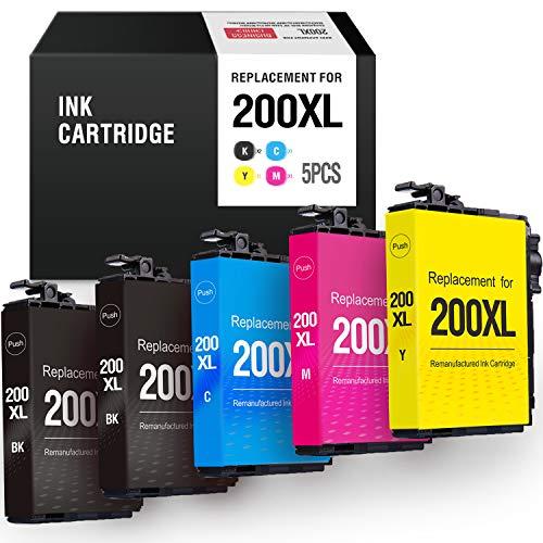 MYTONER Remanufactured Ink Cartridge Replacement for Epson 200XL 200 XL for Expression XP-200 XP-300 XP-310 XP-400 XP-410 Workforce WF-2520 WF-2530 WF-2540 Printer(2 Black,1 Cyan, 1 Magenta,1 Yellow) (Printer Ink Epson Xp400)