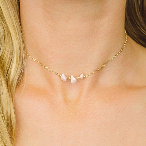 Opal Necklace Peruvian (Pink Peruvian opal beaded chain choker necklace in 14k gold fill - 12