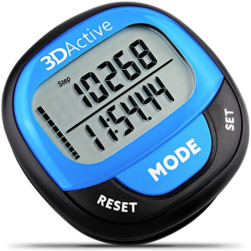 3DActive 3D Pedometer PDA-100| Best Pedometer for Walking with 30-Days Memory. Accurate Step Counter, Calorie Counter, Distance Miles/Km & Daily Target Monitor. (Black/Blue)