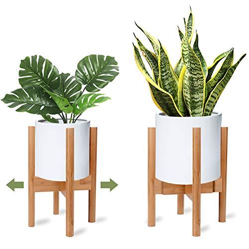 X-cosrack Adjustable Plant Stand Mid Century Wood Modern Flower Potted Holder Rack for Indoor Outdoor, Fit 8'' to 12'' Planter(Plant and Pot Not Included) (Planter Stand Corner)