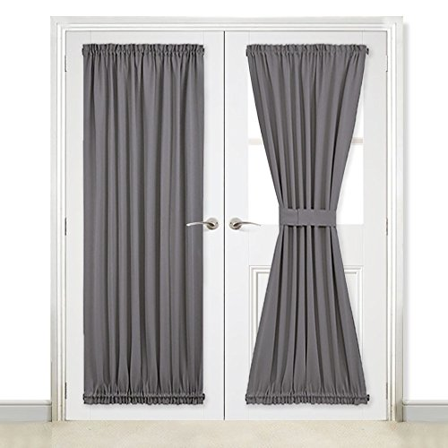 NICETOWN Grey Blackout French Door Curtains - Blackout Patio Door/French Door/Glass Door Curtain Panels - Two Pieces W54 x L72-Inch - Grey (Patio Door French)