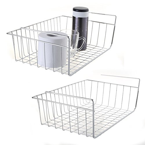 2 pcs Space Saving Under Shelf Basket Wire Rack Organizer Storage Fit Dual Hooks for Kitchen Pantry Wardrobe Desk Bookshelf Cupboard Cabinet - Premium Anti Rust Stainless Steel - Silver