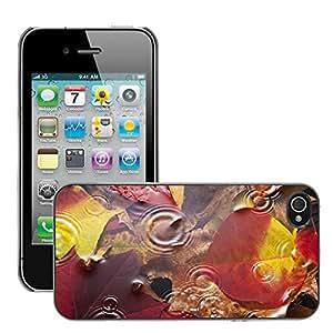 Print Motif Coque de protection Case Cover // V00001808 Otoño deja el fondo de agua de lluvia // Apple iPhone 4 4S 4G