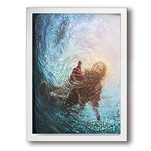 - ArthurBarros The Hand of God Painting - Jesus Reaching Into Water Canvas Wall Art, Oil Painting Wall Paintings Canvas Paintings Home Decor Prints Ready for Hanging