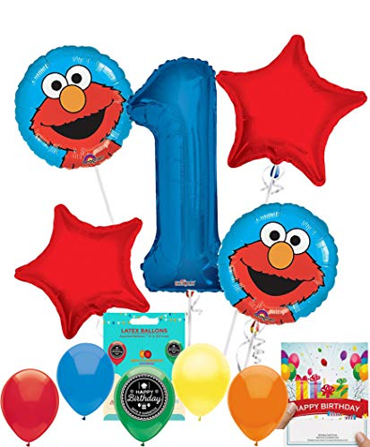 Elmo Party Supplies Sesame Street Balloon Decoration Bundle with Birthday Card for 1st Birthday ()