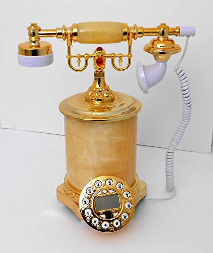 Retro style push button dial desk telephone (onyx) / Home decorative # 1714