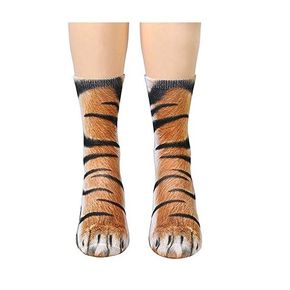 Naisicatar 1 Patrón pareja creativa 3D patas Impresión animal Calcetines unisex divertido del adulto algodón Calcetines regalo del tigre para el invierno: ...