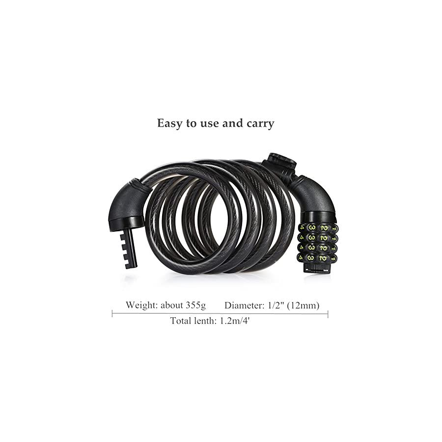 Bike Cable Lock, Amazer 4 Feet Bike Lock Basic Self Coiling Resettable Combination Cable Bike Locks with Mounting Bracket, 4 Feet x 1/2 Inch