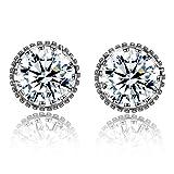 Women Earrings Fashion 925 Sterling Silver Sparkling Round-Cut Cubic Zirconia Halo Stud Earrings Jewelry