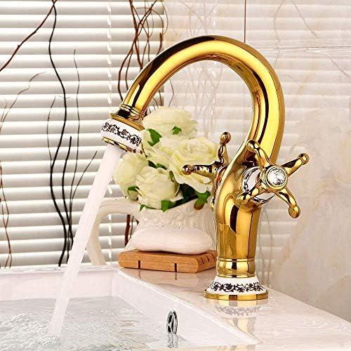 CLJ-LJ 洗面化粧台のシンクの蛇口ゴールドレトロな温水と冷水ダブルハンドル浴室の洗面台のシンクタップ浴室の蛇口