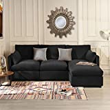 Black Velvet Sectional Sofa Couch with Chaise Lounger, Modern Overstuffed L Shaped Plush Sofa, Velvet Fabric Sectional Sofas and Couches for Living Room Home Furniture Sofa Couch Sectionals (Black)