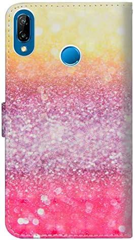 OMATENTI Huawei P20 Lite ケース, ファッション人気 高級PUレザー カードポケット スタンド機能 薄型 スマホケース 手帳型ケース 付き 落下防止 全面保護 衝撃吸収 保護カバー Huawei P20 Lite 用, 灰色の花