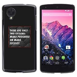 FlareStar Colour Printing Black Grey Progress No Excuses Inspiring cáscara Funda Case Caso de plástico para LG Google NEXUS 5 / E980 /D820 / D821